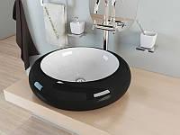 Умывальник накладной на столешницу KERABAD К100 WS (раковина KERABAD  К100 WS) цвет черный+белый