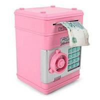 Копилка электронная сейф - банкомат для денег, с пин-кодом розовая
