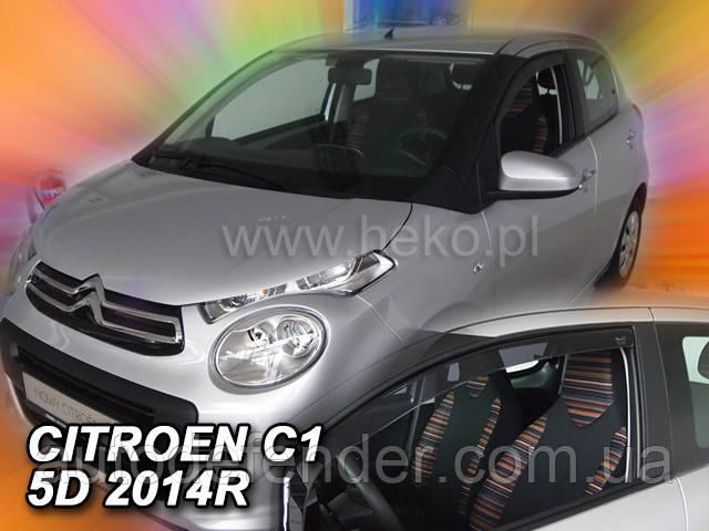 Дефлекторы окон (вставные!) ветровики Peugeot 108 5d 2014- 2шт., HEKO, 29638