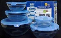 Набор из пяти стеклянных емкостей с пластиковыми крышками Cooking Bowl