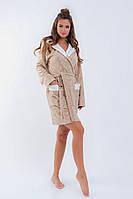 Женский стильный флисовый халат с жаккардовым рисунком Батал, фото 1