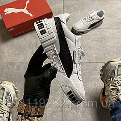 Женские кроссовки Puma Cali White Black Line (белые)