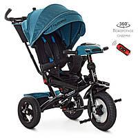 Дитячий триколісний велосипед-коляска з поворотним сидінням TurboTrike M 4060HA-21T льон смарагдовий