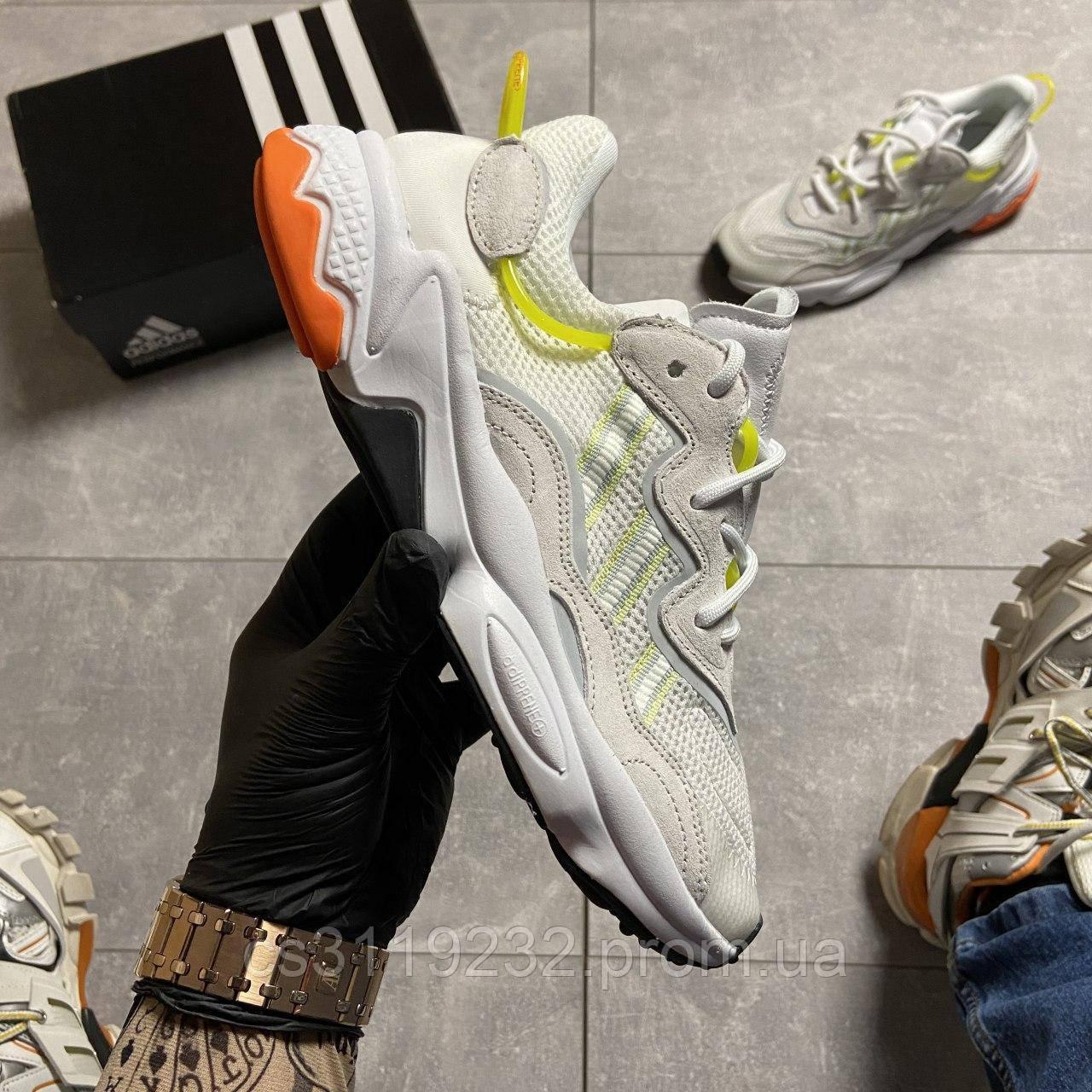 Мужские кроссовки Adidas Ozweego White Green (белый)