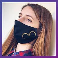 Защитная многоразовая тканевая маска черная с принтом с рисунком с сердечком женская