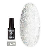 Гель-лак для ногтей серебристый с микроблестками Grattol Opal Silver 9 мл