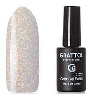 Гель-лак для ногтей серебристый с микроблестками Grattol Opal №01 9 мл