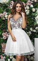 Платье женское пышное красивое вечернее весна-лето гипюр/сетка/софт 42-46 р.,цвет белый