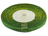 Стрічка атлас парча 0,5 см/21м (зелен.)(10)