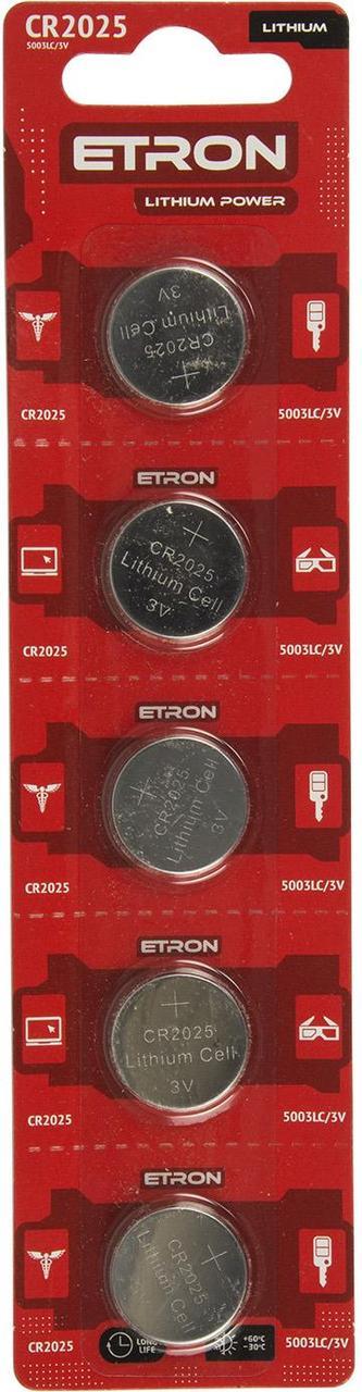 Батарейка Etron Lithium Power CR2025/5bl 3V(5)(60)