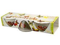 """Набір салатників скло """"Лугові квіти"""" (3шт) 130мм №3602 в подар. кор-ці/Галерея/(6)"""