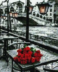 Алмазная живопись 30*40 розы под пождем