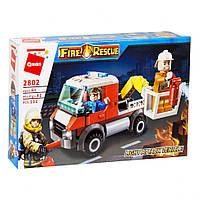 Конструктор Qman 2802, пожарная машина, качественный аналог конструктора лего, для мальчиков.
