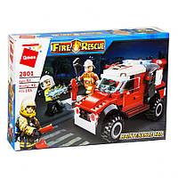 Конструктор Qman 2801, пожарная машина, спасатели, аналог конструктора лего, для мальчиков.