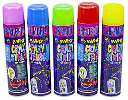 """Аерозоль-серпантин в балоні """"Crazy"""" 350г кольор. №0772/Вител/(48)"""