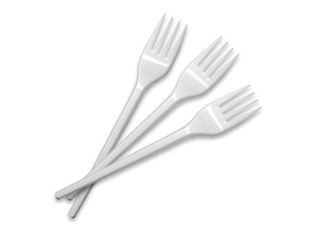 Вилка пласт. 16см біла №1080200/Buroclean/(100)(6000)