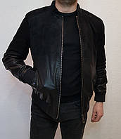 Куртка кожаная мужская бомбер с деграде Maddox