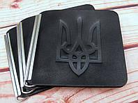 Затискач для купюр з Тризубом шкіряний чорний, фото 1