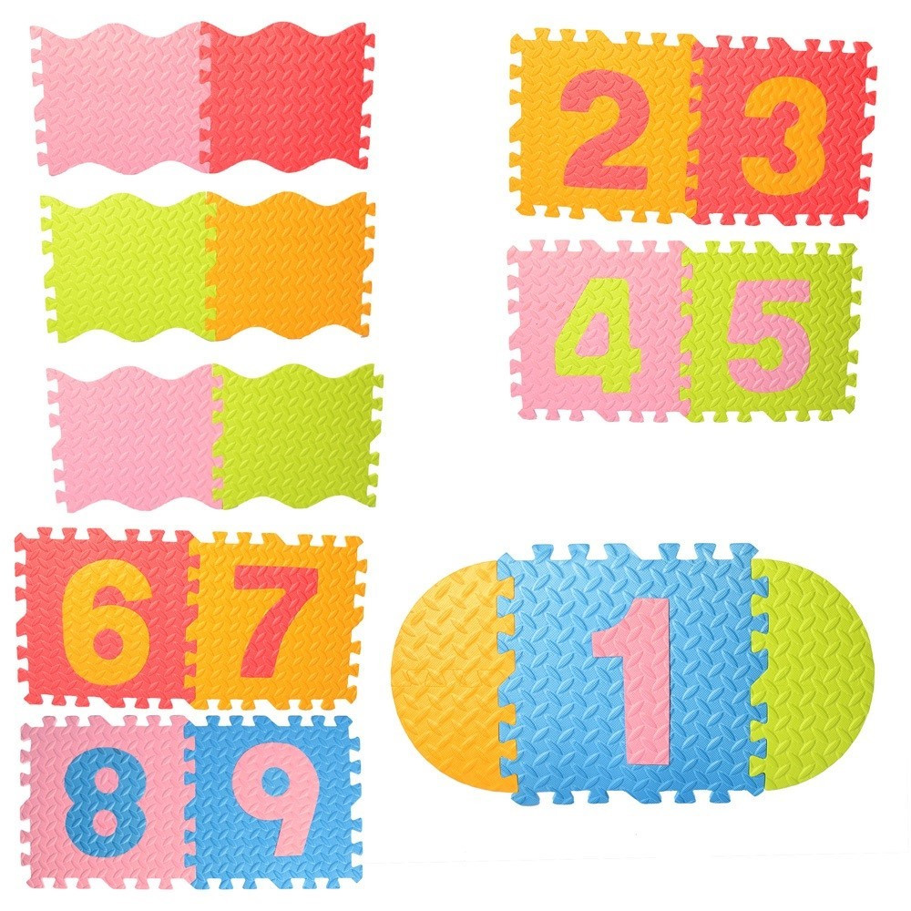 Килимок-мозаїка 9дет.,пазли,цифри,EVA,в пакунку,61х32х8см №M6096(8)