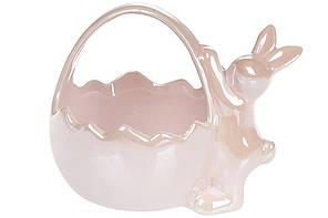 """Цукерниця """"Кролик з корзиною"""" 13,9см рожева №739-704/Bonadi/(2)"""