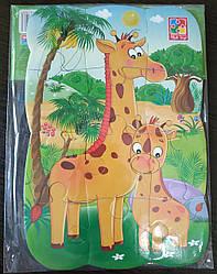Магнитные пазлы 12 эл.  Жирафы, детская развивающая игра