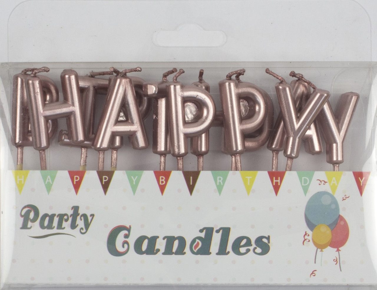 "Свічка в торт ""Happy Birthday"" рожева(12)"