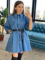 Платье рубашка джинсовое модное оверсайз кроя с карманами Smpr4180, фото 1