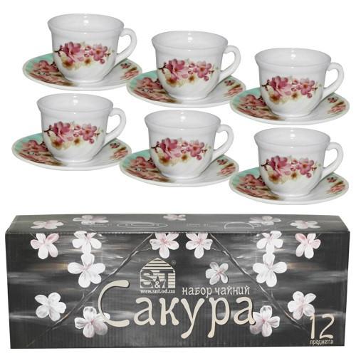 """Сервіз чайний склокерам. 12предм. (6чаш. 190мл+6бл.) """"Сакура"""" №30055-004/S&T/(12)"""