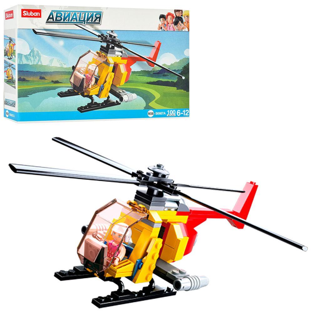 """Конструктор Sluban"""" Вертоліт,фігурка,100дет.,у кор-ці,23,5х14х4,5см №М38-B0667A(72)"""
