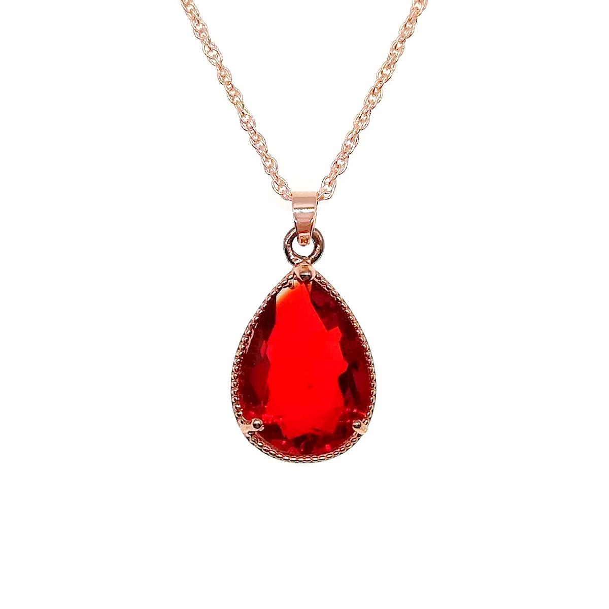 Подвеска на цепочке SONATA из медицинского золота, красный фианит, позолота PO, 41948             (1)