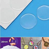 (21шт, лист) Прозрачные круглые эпоксидные наклейки Ø20мм Цена за лист