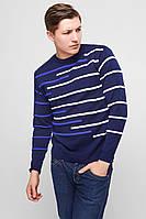 Мужской свитер в полоску. -синий/полоса-белая+черный, фото 1