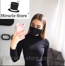 Чорна багаторазова захисна маска, Антибактеріальна пов'язка + ПОДАРУНОК Дезінфектор!!!, фото 3