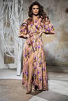 Женское длинное шелковое платье на запах, под поясок, с цветами, рукав фонарик (44-50), фото 1