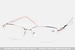 Жіночі окуляри для зору в металевій оправі. Бежево-золотисті полуободковые