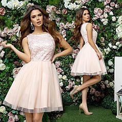 Платье нарядное гипюр + фатин в расцветках 377311