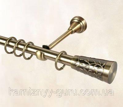 Карниз для штор ø 19мм, одинарный, наконечник Севилия