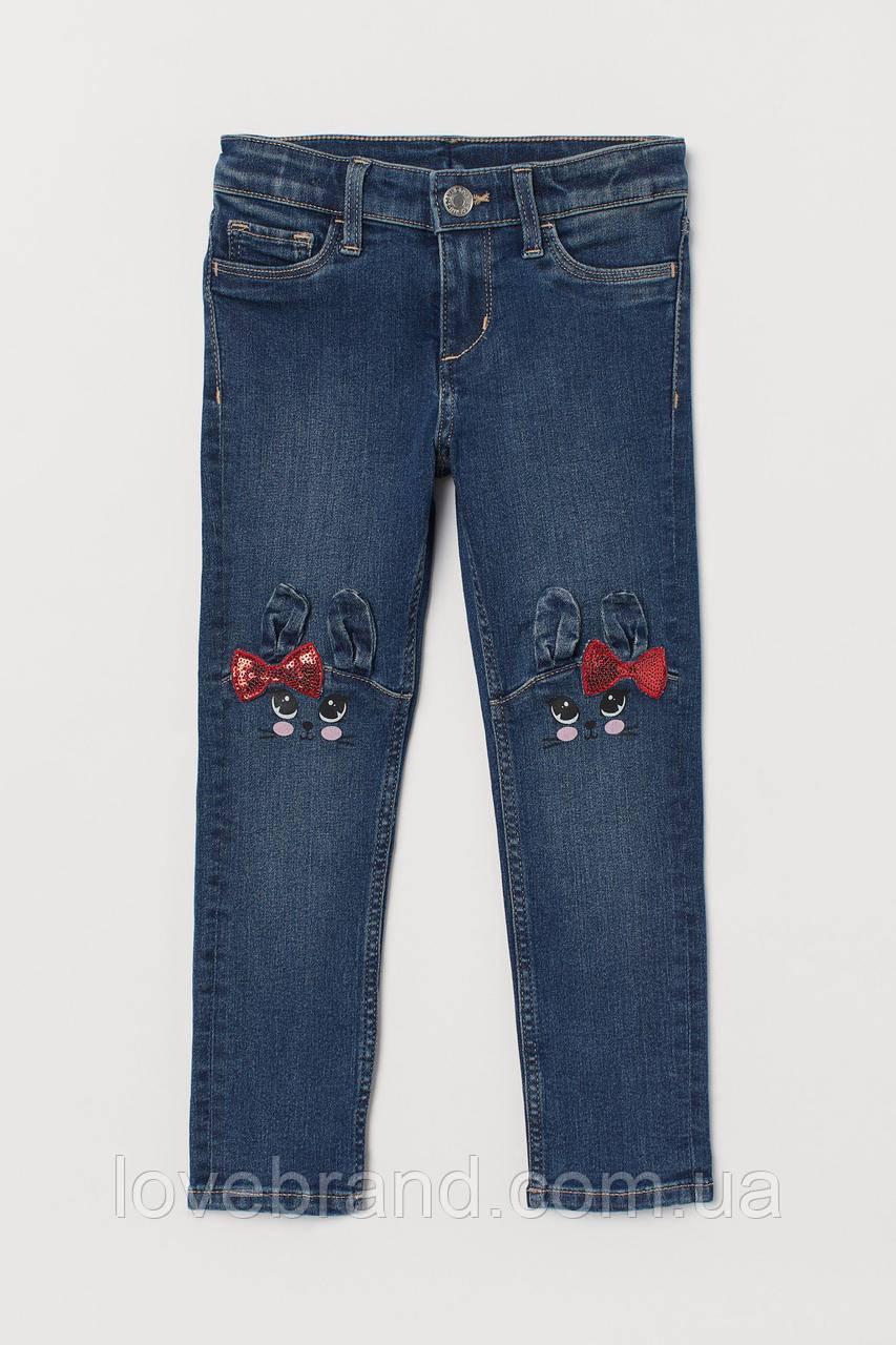Детские джинсы для девочки H&M зайчики (ейч енд ем)