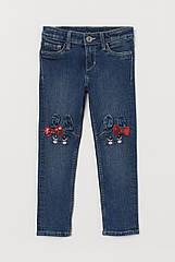 Дитячі джинси для дівчинки H&M зайчики (ейч енд ем) 5-6 л./116 см