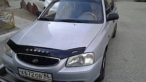 Мухобойка, дефлектор капота HYUNDAI Accent II с 1999-2005 г.в.; 2001-2006 г.в. сборка ТАГАЗ