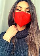 """Маска красная защитная многоразовая с карманом для фильтров """"с носиком"""""""