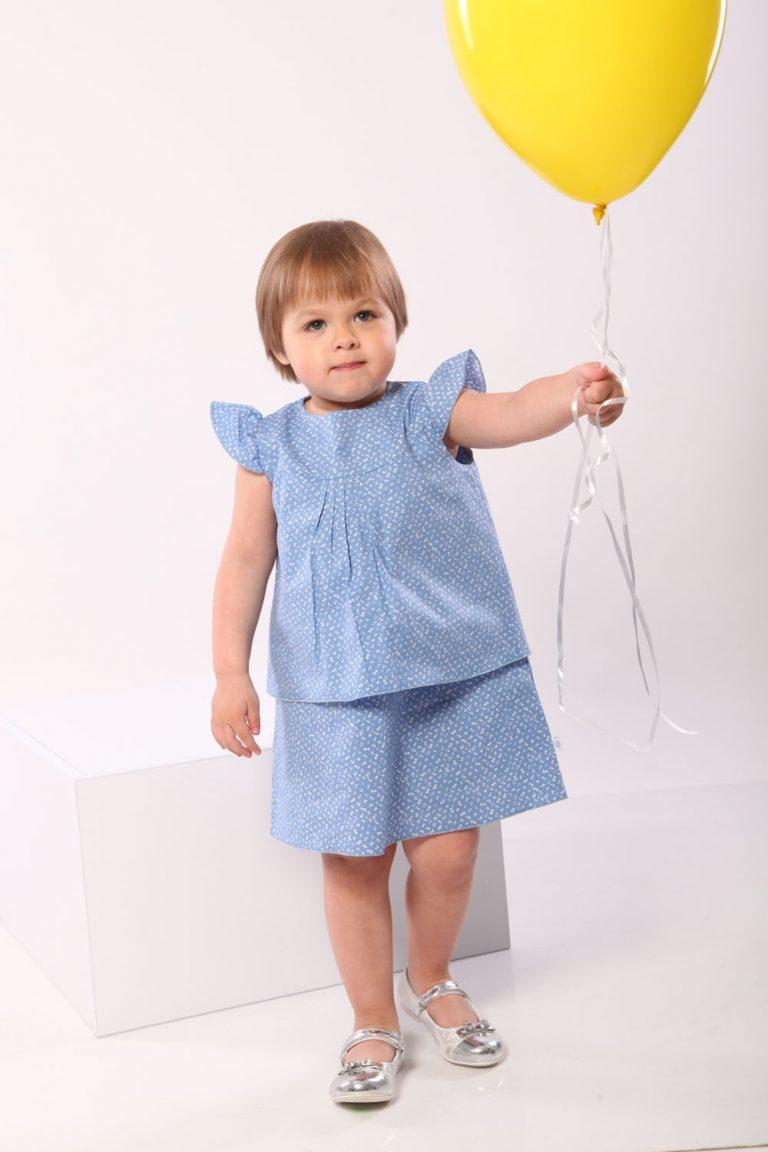 Платье сарафан летнее для девочек (голубое) 1-4 лет