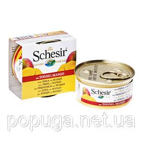 Schesir Tuna Mango консерви для кішок, тунець з манго в желе, банку 75 г