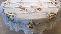 """Скатертина ручної роботи з льону """"Квіткова"""" для овального столу 320*180 см"""