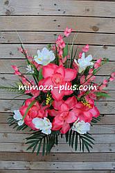 Искусственные цветы - Ритуальный букет магнолия с ирисом, 80 см