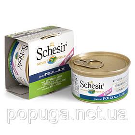 Schesir Chicken Aloe Kitten консерви для кошенят, курка з алое в желе, банку 85 г