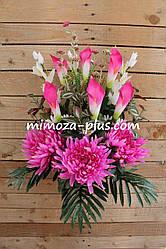Искусственные цветы - Ритуальный букет хризантема, калла, колокольчик, 76 см