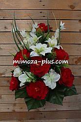 Искусственные цветы - Ритуальный букет пион, лилия, орхидея, колокольчик, 65 см