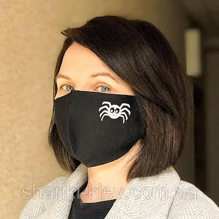 Маска на лицо защитная многоразовая набор 2 штуки с принтом паучек черная Хлопок, фото 2