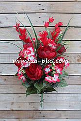 Искусственные цветы - Ритуальный букет пион, гортензия, 70 см